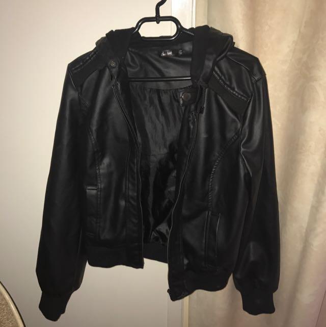 Size 14 Leather Jacket Black
