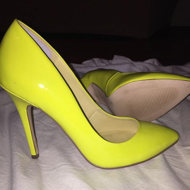 Topshop Neon Yellow Pointed Heels