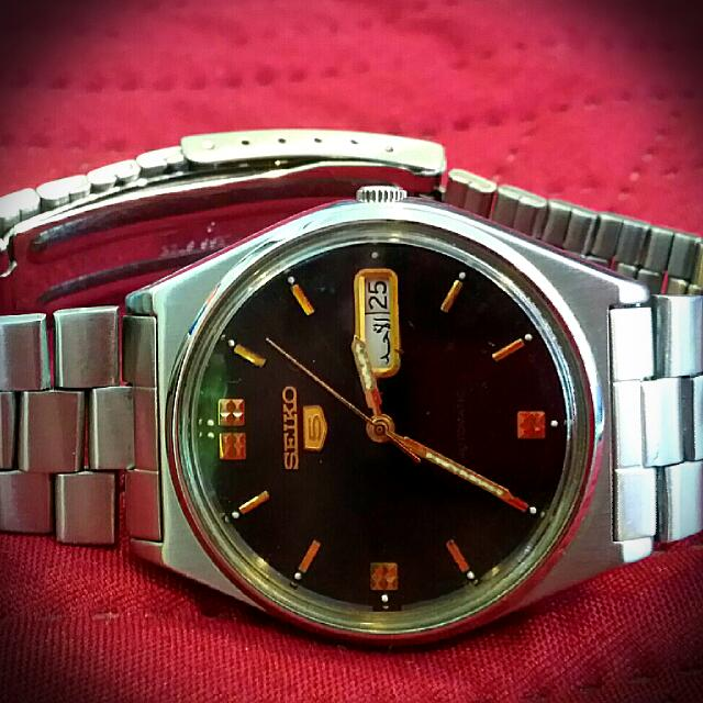 4b62b1610 VINTAGE SEIKO 5 [ ROUND CASE BLACK DIAL_With Arabic DAY & DATE ...