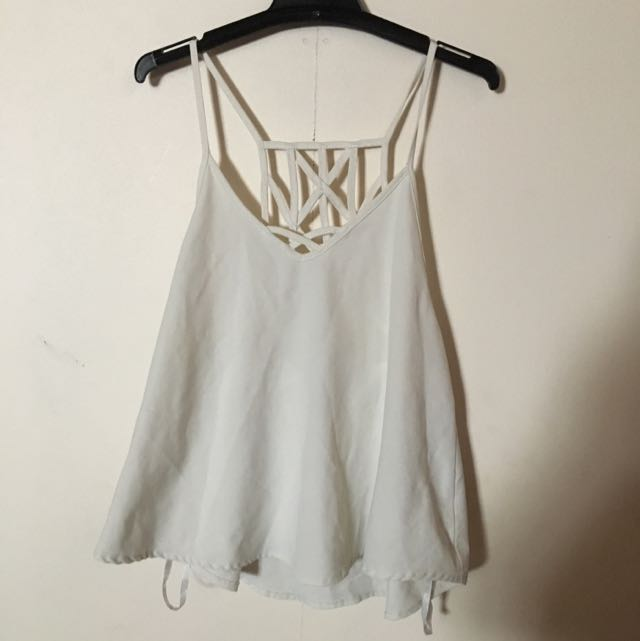 White Dress Singlet With Beautiful Back Pattern