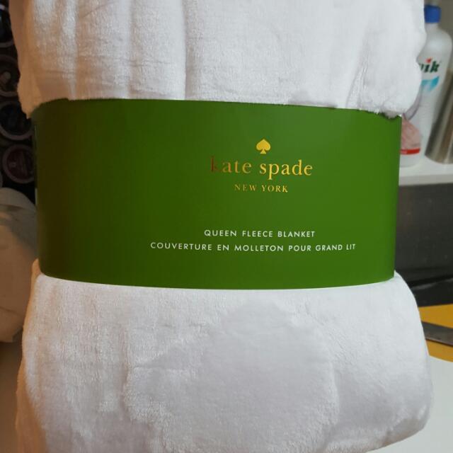 White Kate Spade Fleece Blankets