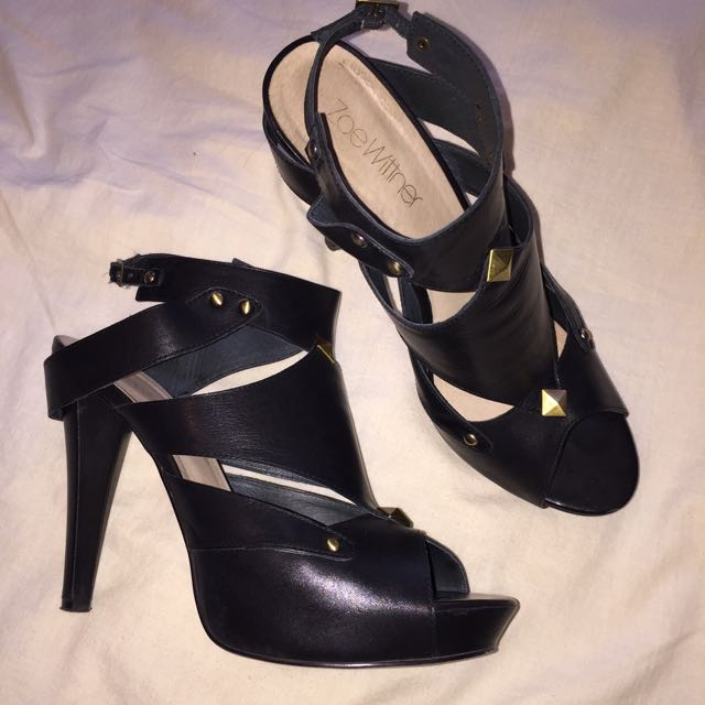 Wittner Black Leather Gladiator Heels