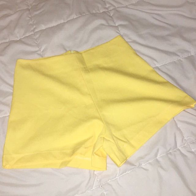 Yellow Structured Shorts