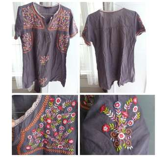 Beautiful Embroidered Grey Blouse