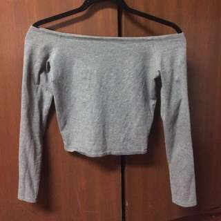 Abercrombie Grey Off Shoulder Crop Top