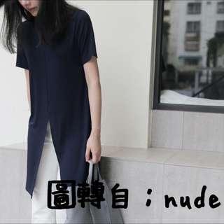 轉賣nude2面開衩短袖長版上衣
