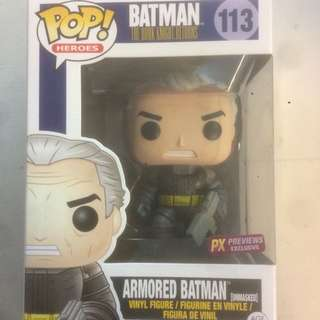 Funko Pop The Dark Knight Returns Armored Batman Unmasked PX Previews Exclusive