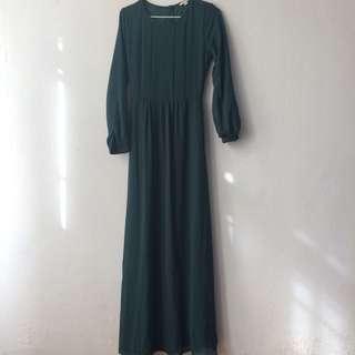 Dark Olive Green Long Poppy Dress