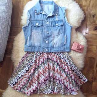 BUNDLE: Distressed Denim Vest + Aztec Skater Skirt