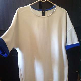 White with Blue Fold Top
