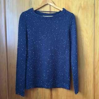 Navy Based Glitter Knit