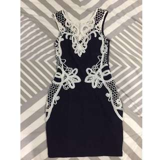 Ice Fashion Navy Blue Bodycon Dress With White Details