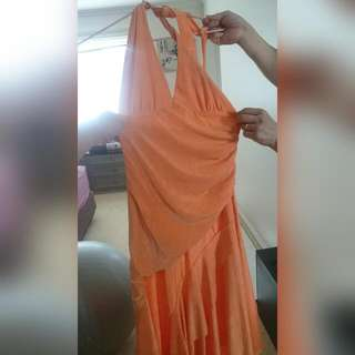 ORANGE HALTER DRESS.