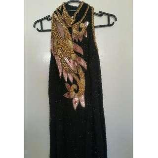 Vintage Sequinned Floor Length Dress