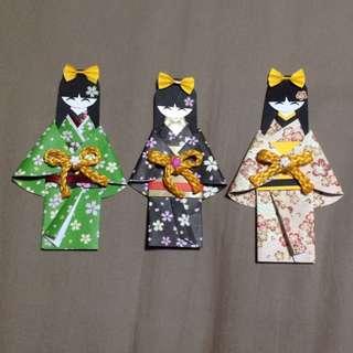 Handmade Japan Kimono Origami Paper Dolls