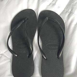 Slim Black Haviana Jandals