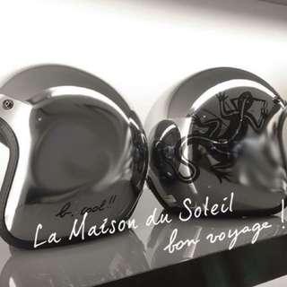 agnes b. SPORT b.logo 蜥蜴安全帽 鏡面銀