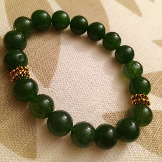 14k Gold Plated Spacers With JADE Stone