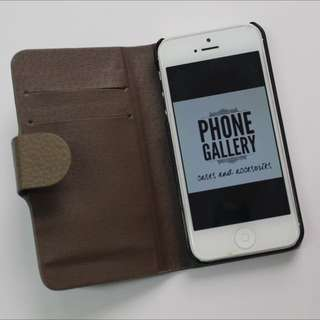 Authentic iPhone Flip Case Brown and Red