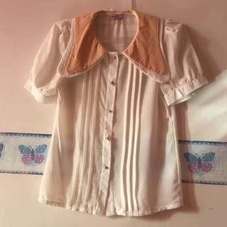 White And Peach Big Collar Shirt