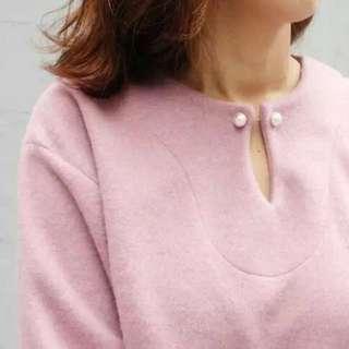韓國代購實拍 簡約珍珠釦上衣