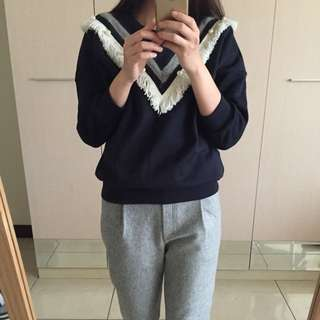 韓國代購實拍 流蘇珍珠休閒上衣