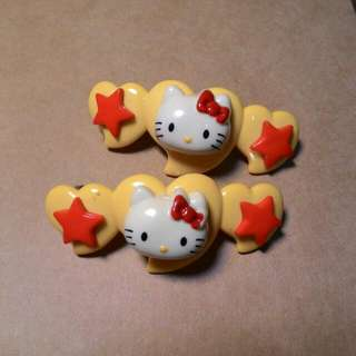 Hello Kitty 愛心彈簧髮夾