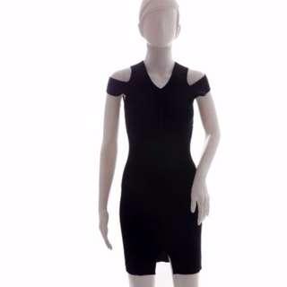 #416: V-Neck Cut Out Shoulder BodyCon Midi Dress (Black)
