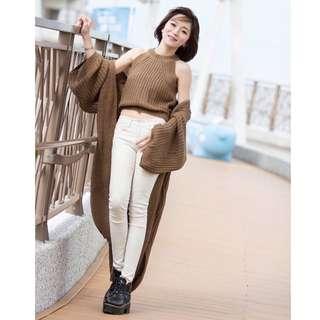 BoBoHey 現貨👚兩件式中長款顯瘦毛衣外套+背心