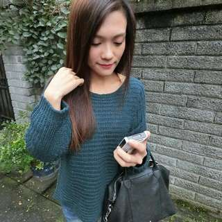 圓領寬袖毛衣(綠)