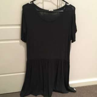 Zara Dark Grey Dropwaist Mini Dress