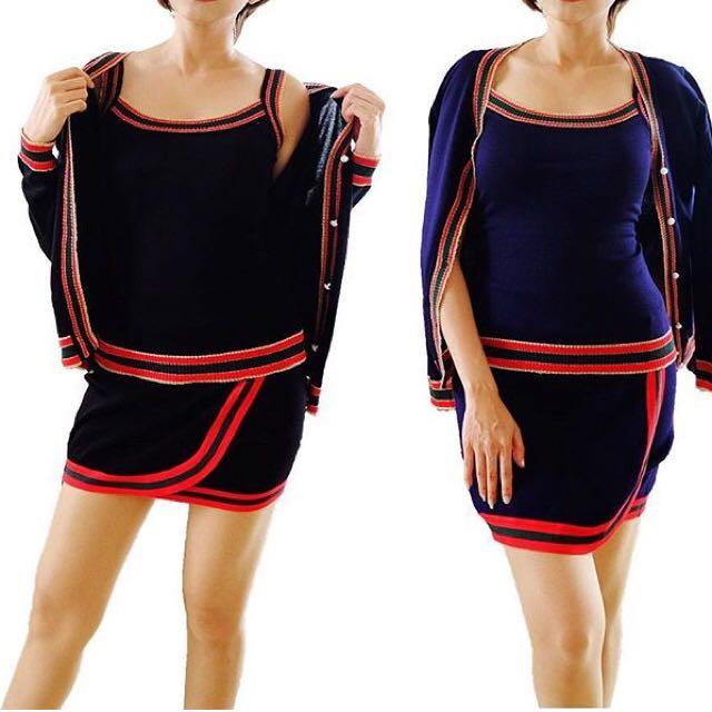 1set korea (top + skirt + cardigan)