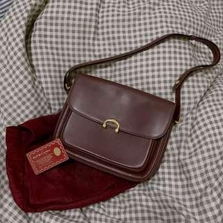 Cartier 酒紅 復古肩背/斜背包