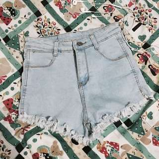 Light Denim High Waist Shorts