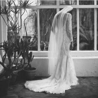 1 Tier Waltz Lenght Wedding Veil In French Silk tulle