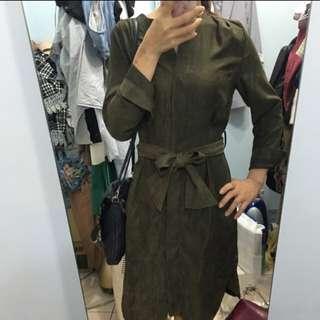 正韓微絨綁帶洋裝