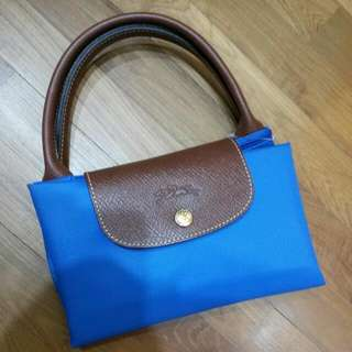 BN Longchamp Le Pliage Short Handle Tote Bag Blue