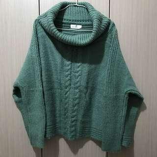 古著/湖水綠麻花圖樣大翻領寬鬆毛衣