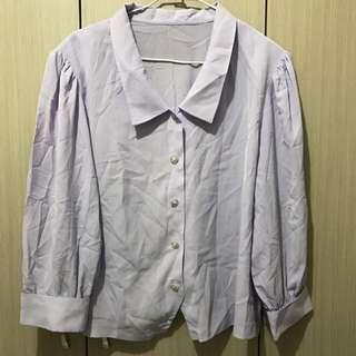 古著/馬卡龍色薰衣草粉紫色宮廷風雪紡長袖襯衫