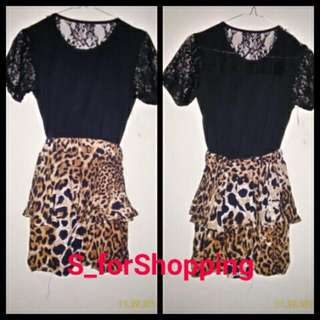 Leopard Dress With Black Top