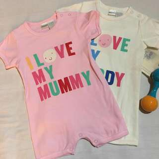 I love my Mummy/ Daddy Rompers - White/ Pink