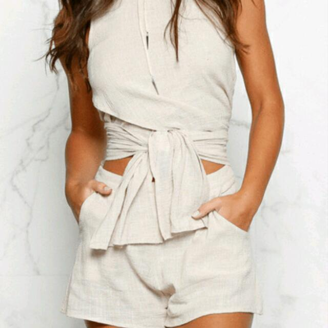 2 Piece Outfit Tie Top And Shorts L OR 12