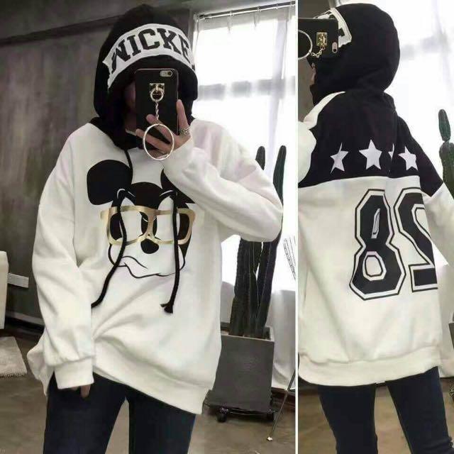 韓版米奇卡通數字拼接貼布刷毛衣