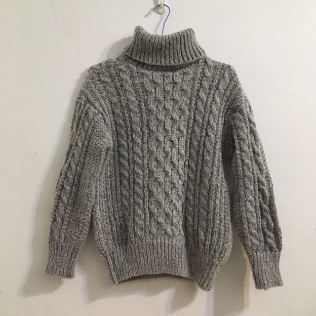 灰色高領麻花針織毛衣#歲末感恩出清