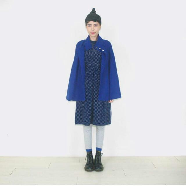 寶藍毛尼古著外套
