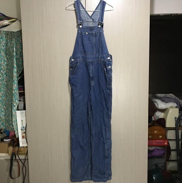 古著/正藍色牛仔原色軟布超長牛仔吊帶褲吊帶連身長褲