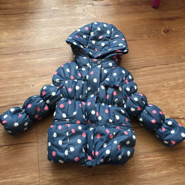 寶寶 水玉藍底保暖外(內裏:珊瑚絨丶有帽子)