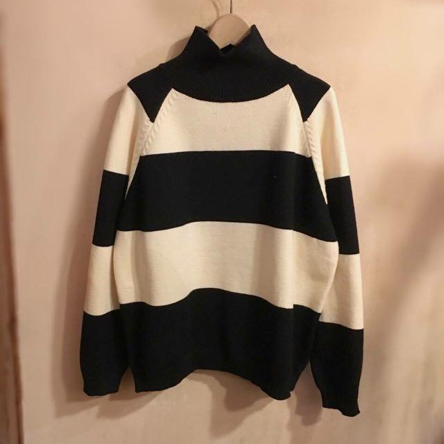 高領 條紋毛衣