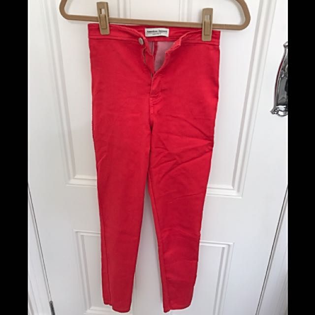 American apparel High Waisted Red Pants