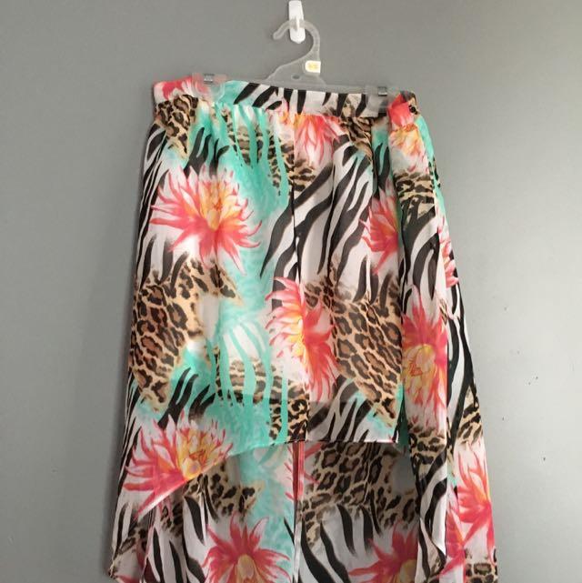 Asymmetric Floral Animal Print Skirt Size 14
